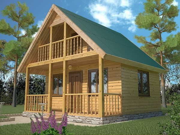 Дачный домик из профилированного бруса, в котором можно отдохнуть даже большой семьей