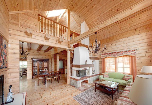 Интерьеры коттеджей из дерева