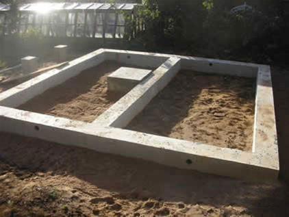 Для небольшого деревянного строения подойдет мелко заглубленный ленточный фундамент.
