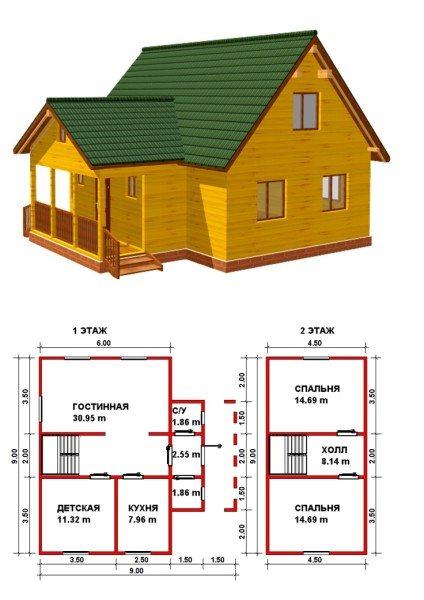 Дом из бруса с поэтажными планами