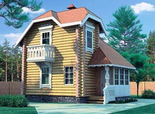 Двухуровневый деревянный дом с верандой.