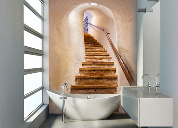 Фотообои в дизайне маленькой ванной комнаты