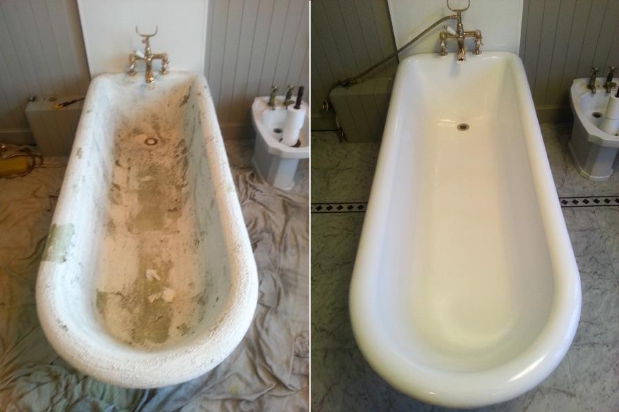 Ванная до и после реставрации эмалью