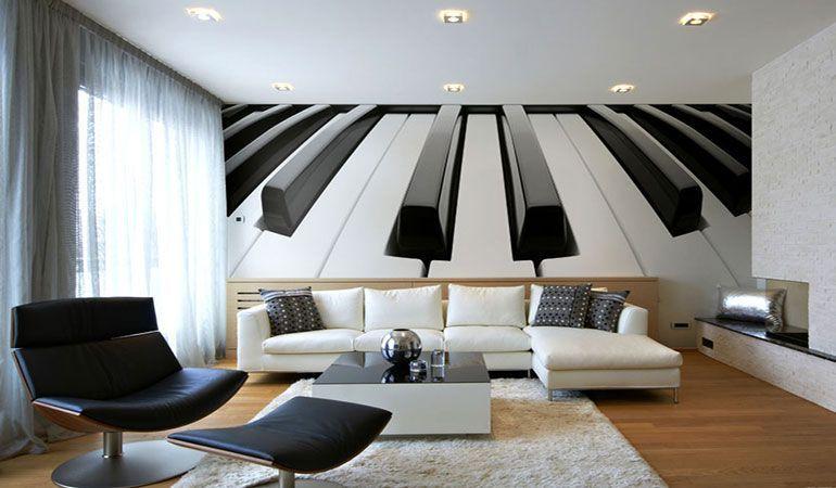 Флизелиновые фотообои в интерьере гостиной