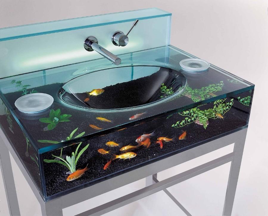 Раковина-аквариум, для любителей рыбок.