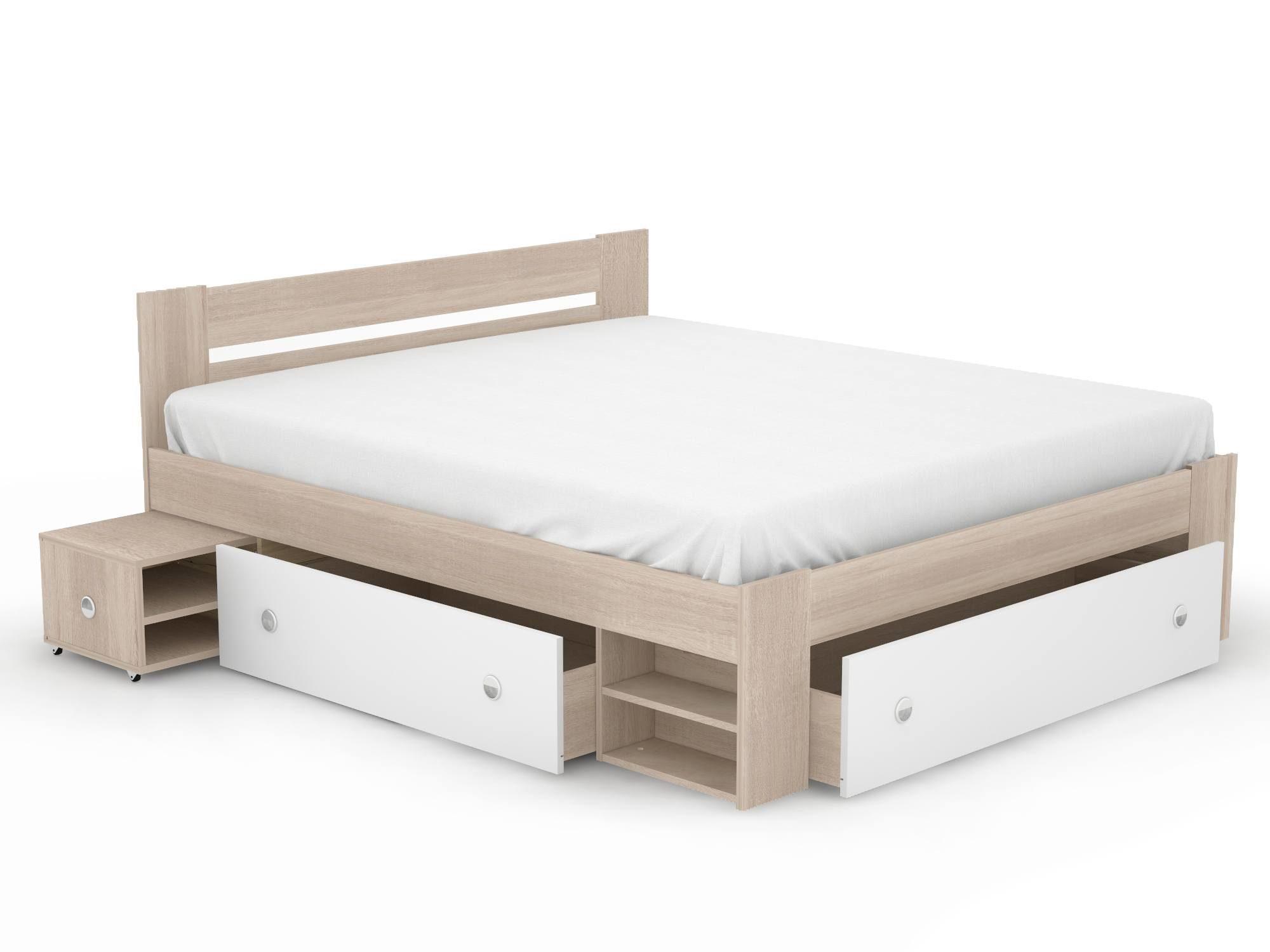 Выдвижные ящики в конструкции кровати позволит расхламить остальное пространство комнаты.