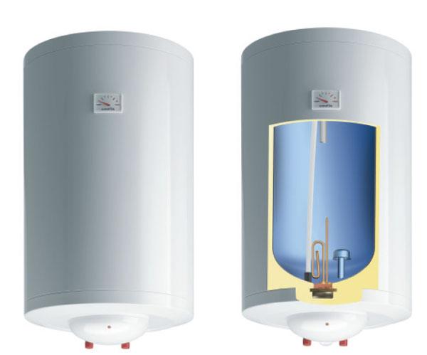 Бойлер нагревает сразу большое количество воды и затем просто поддерживает температуру.