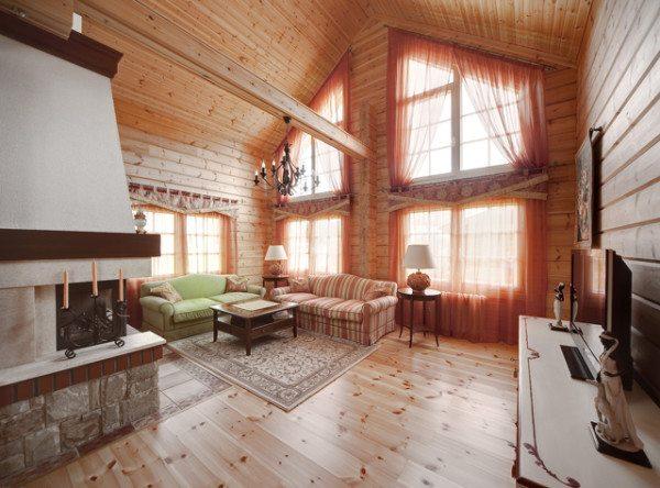 Фото гостиной с имитацией профилированного бруса в прованском стиле
