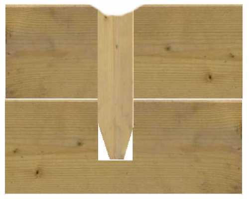 Глубина установки деревянных нагелей.