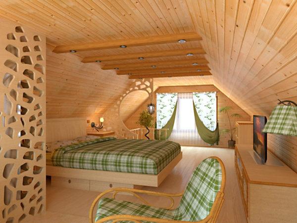 Плюсом спальни на чердаке можно назвать красивый вид из окна