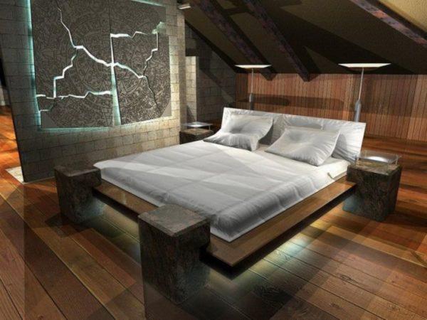 Прогрессивный хай-тек благосклонен к деревянной кровати при условии наличия нестандартной формы или конструкции