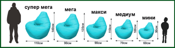 Стандартные размеры кресла-мешка в зависимости от предназначения