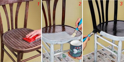 Процесс окрашивания стула