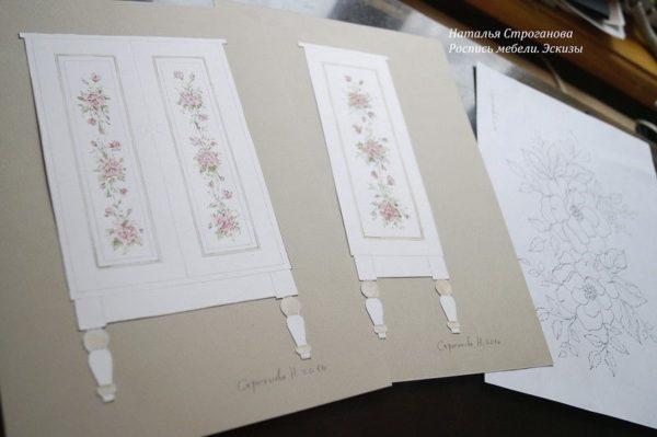 Создание эскиза для росписи мебели