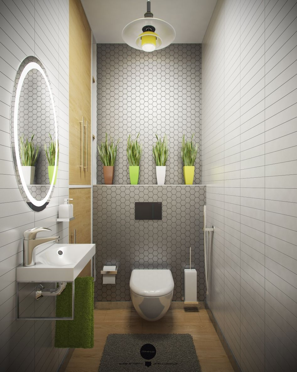 Интерьер маленького туалета