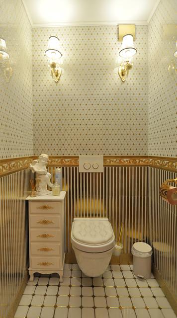 Оформление маленького туалета в классическом стиле