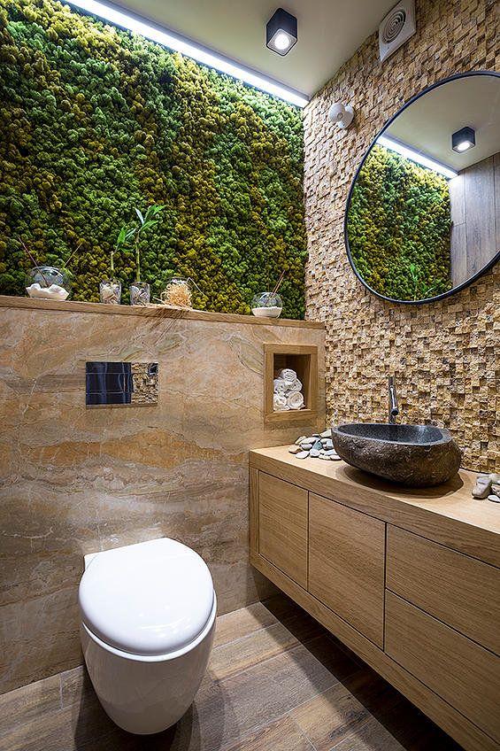 Оформление маленького туалета в экостиле