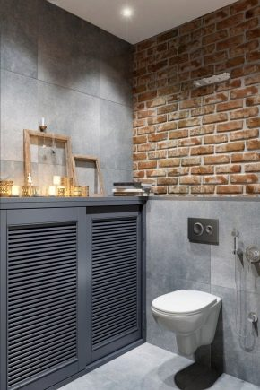 Оформление маленького туалета в стиле лофт