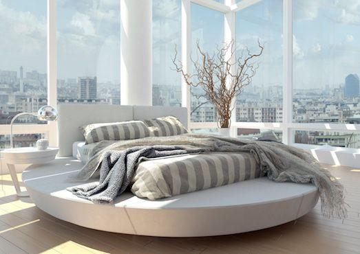 Круглый подиум для прямоугольной кровати