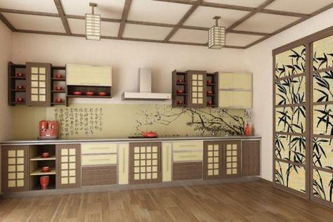 Интерьер кухни в японском стиле с использованием трех оттенков и акцентов в красном цвете
