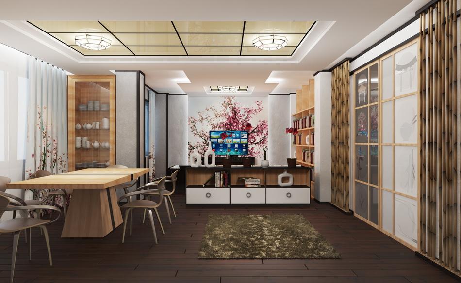 Деревянный пол на кухне в японском стиле