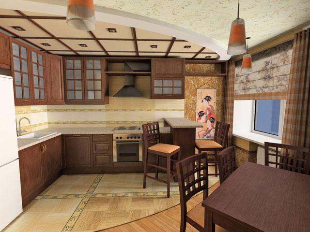 Балочная конструкция на потолке кухни в японском стиле