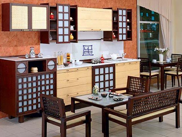 Мебель с обрешеткой на кухне в японском стиле