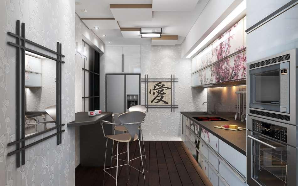 Освещение на кухне в японском стиле