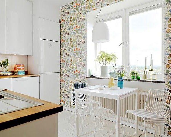 Водостойкие стеклообои в интерьере кухни