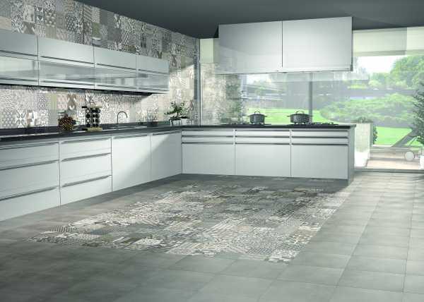 Плитка пэчворк в минималистичном интерьере кухни