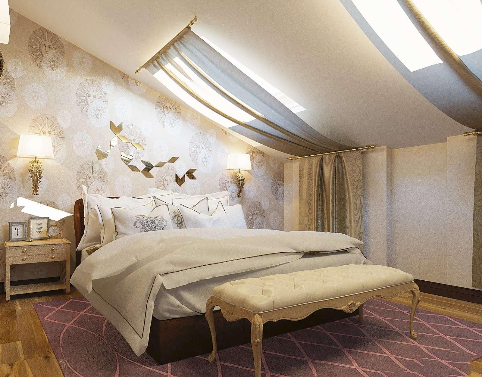 Акцентная стена у изголовья кровати в мансардной спальне
