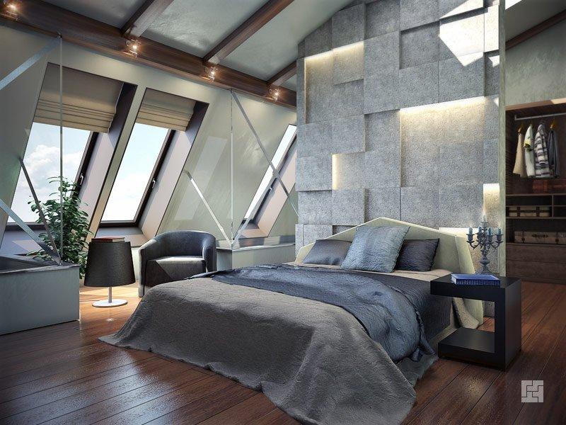 ПВХ-панели, использованные в спальне на мансарде