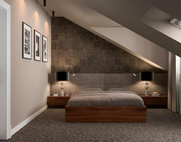 Пол, устеленный ковролином в спальне на мансарде