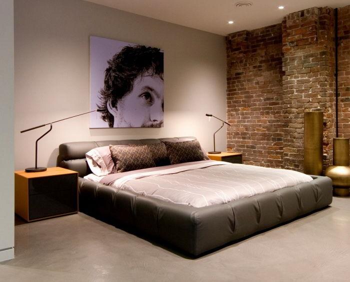 Бетонный пол для спальни в стиле лофт