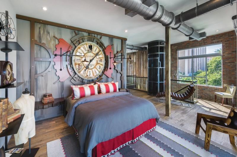 Потолочные перекрытие для спальни в стиле лофт