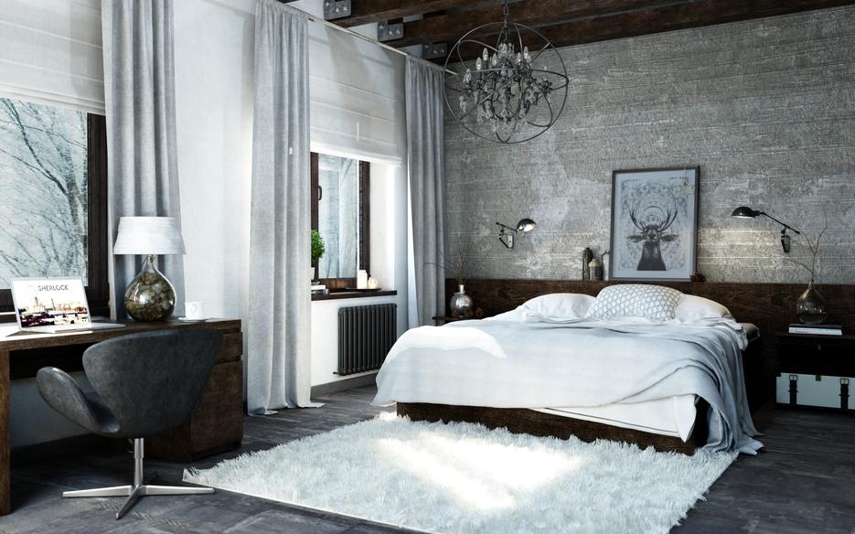 Декоративные элементы в спальне в стиле лофт