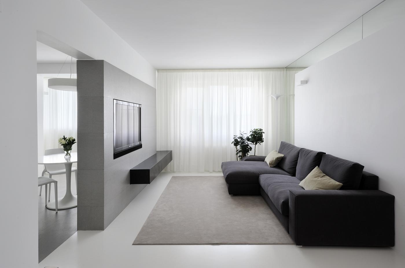 Узкая гостиная в стиле минимализм