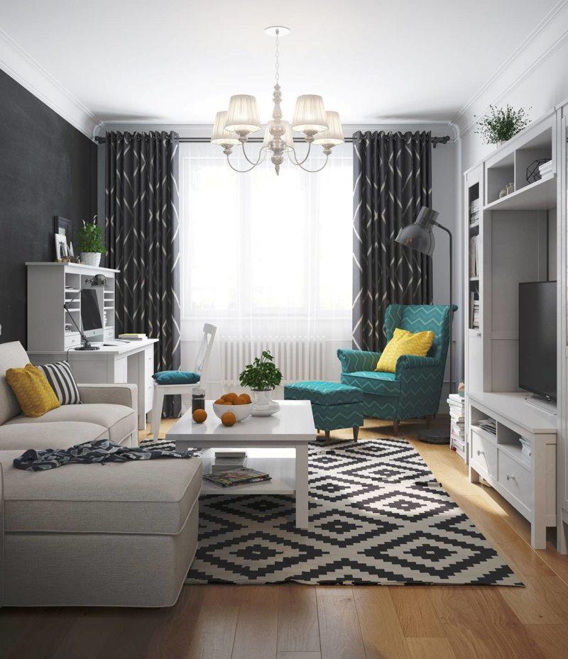 Черно-белые цвета в интерьере узкой гостиной