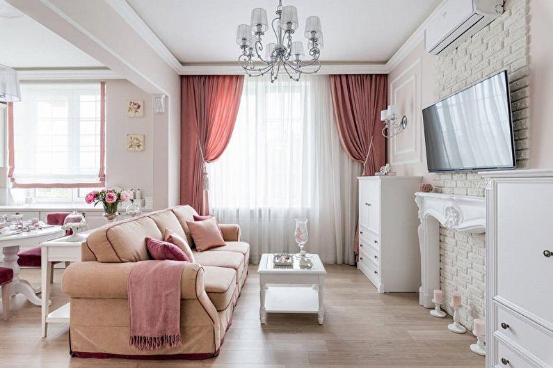 Узкая гостиная с розовыми акцентами