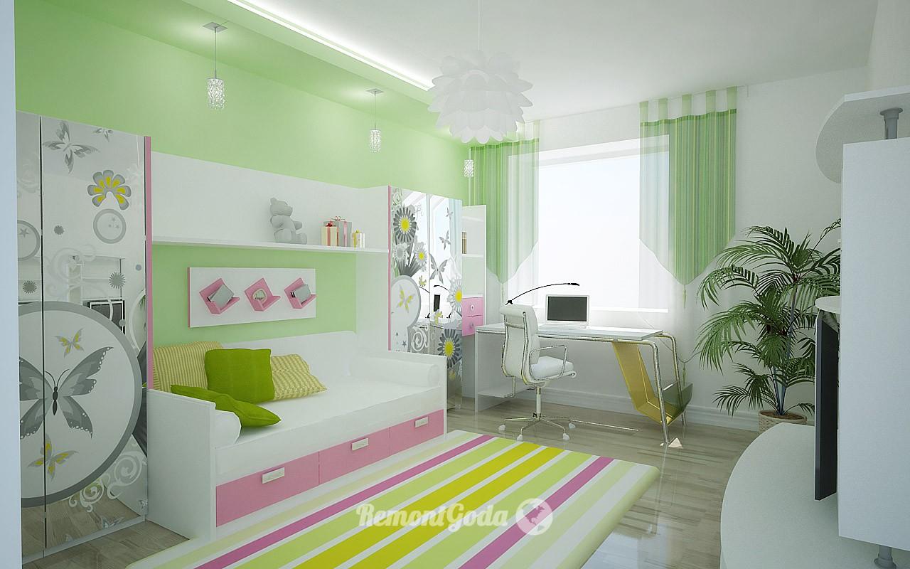 Стены детской комнаты, окрашенные водоэмульсионной краской