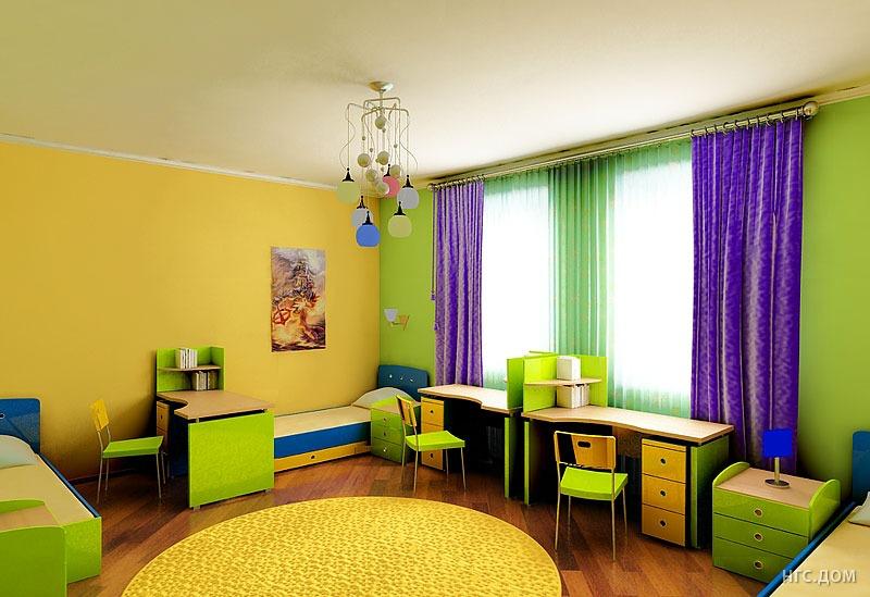 Окрашенный потолок в интерьере детской комнаты