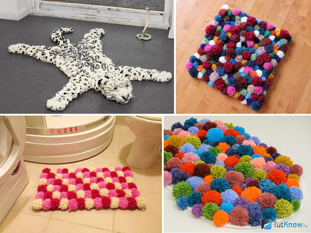 Варианты оформления коврика из помпонов