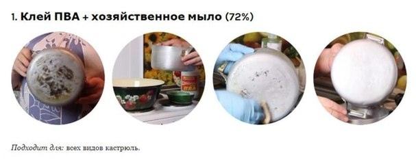 Раствор из клея и мыла подходит для всех типов кастрюль