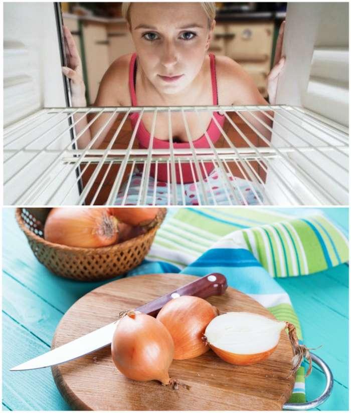 Избавиться от запаха лука в холодильнике можно с помощью растительного масла