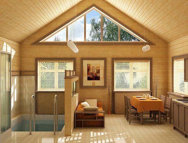 Интерьер комнаты, облицованный имитацией бруса