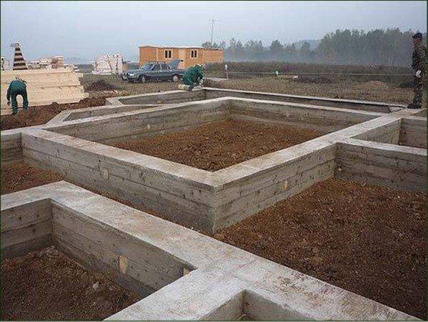 Ленточный фундамент под строительство деревянного дома.