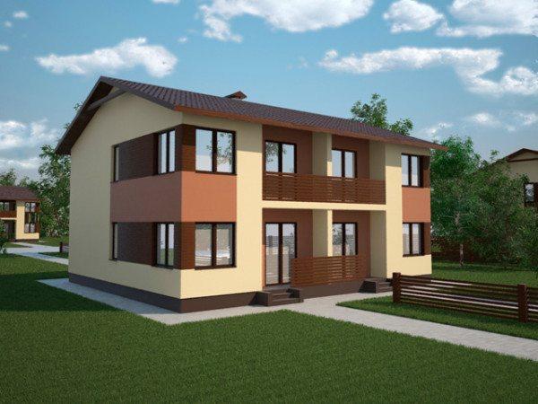 На фото – проект дома на две семьи.
