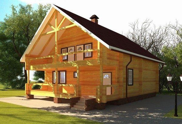 На фото простой брусовый дом, который при этом выглядит вполне солидно.