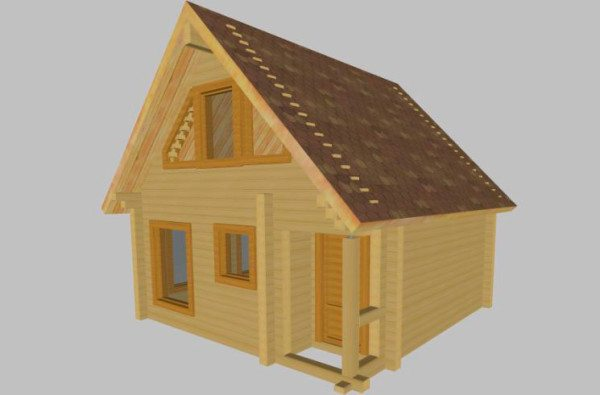 На фото визуализация маленького брусчатого домика.
