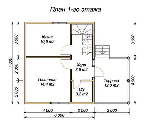 На первом этаже можно поместить 4 комнаты и прихожую